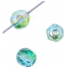 Fire polished 6mm Crystal/bright Green-aqua Two-tone Aurora Borealis